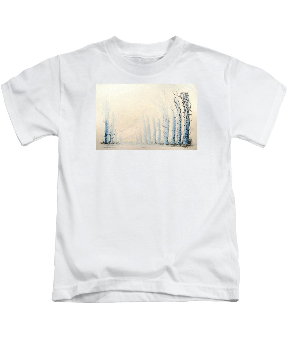 Watercolor Kids T-Shirt featuring the painting Signals by Dave Martsolf