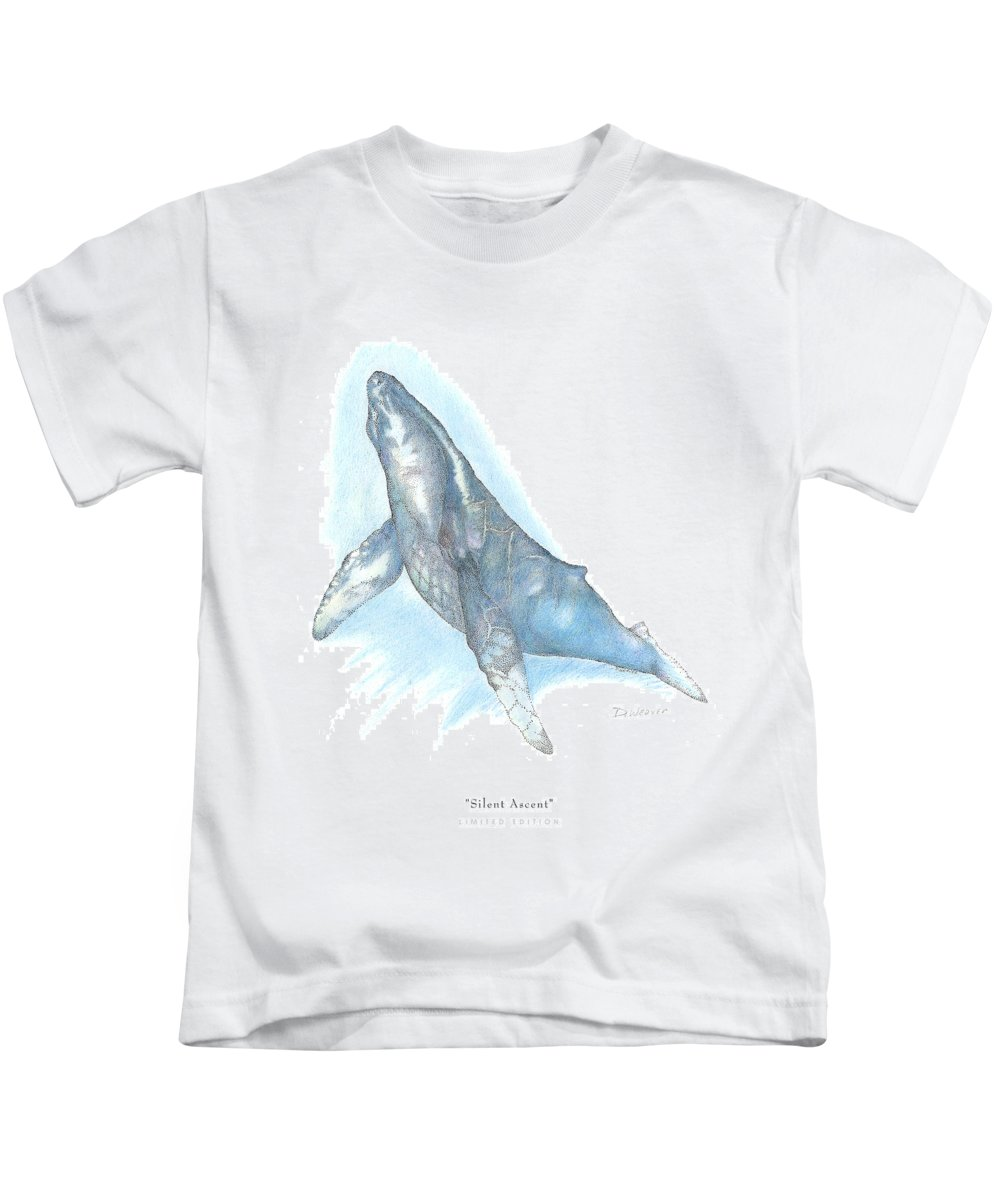 Whale Beneath Surface Kids T-Shirt featuring the drawing Silent Ascent by David Weaver