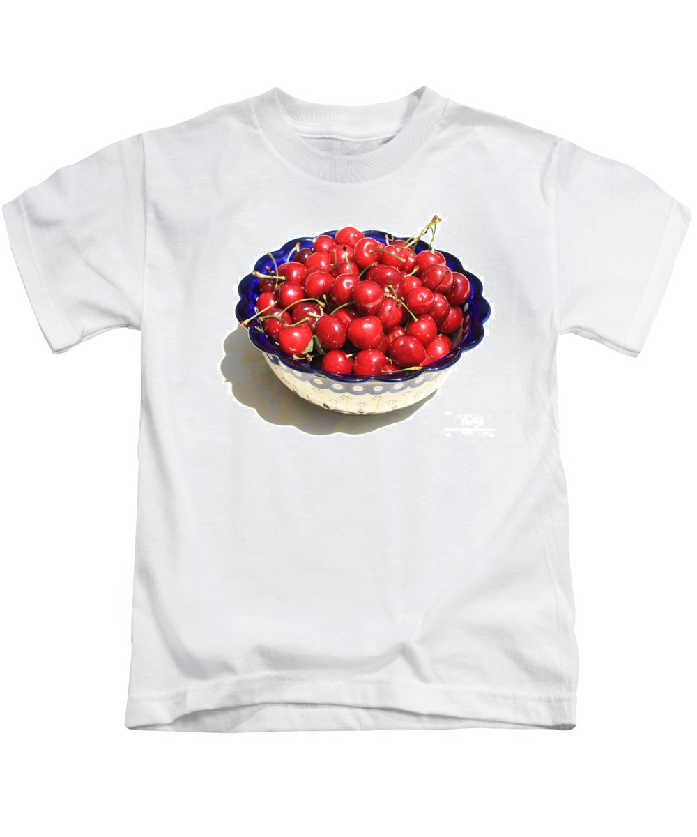 Cherries Kids T-Shirt featuring the photograph Simply A Bowl Of Cherries by Carol Groenen