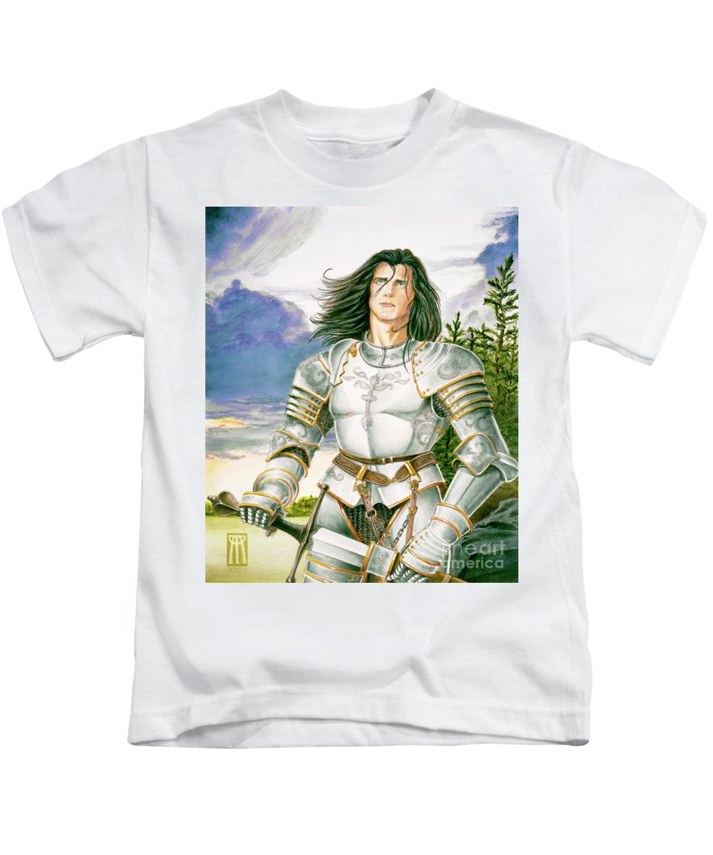 Swords Kids T-Shirt featuring the painting Sir Lancelot by Melissa A Benson