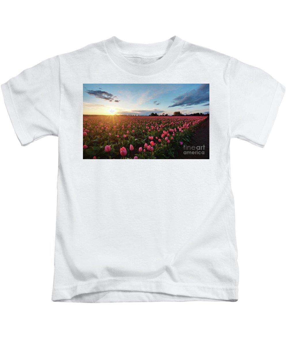 Skagit Kids T-Shirt featuring the Skagit Sunset Field by Mike Reid