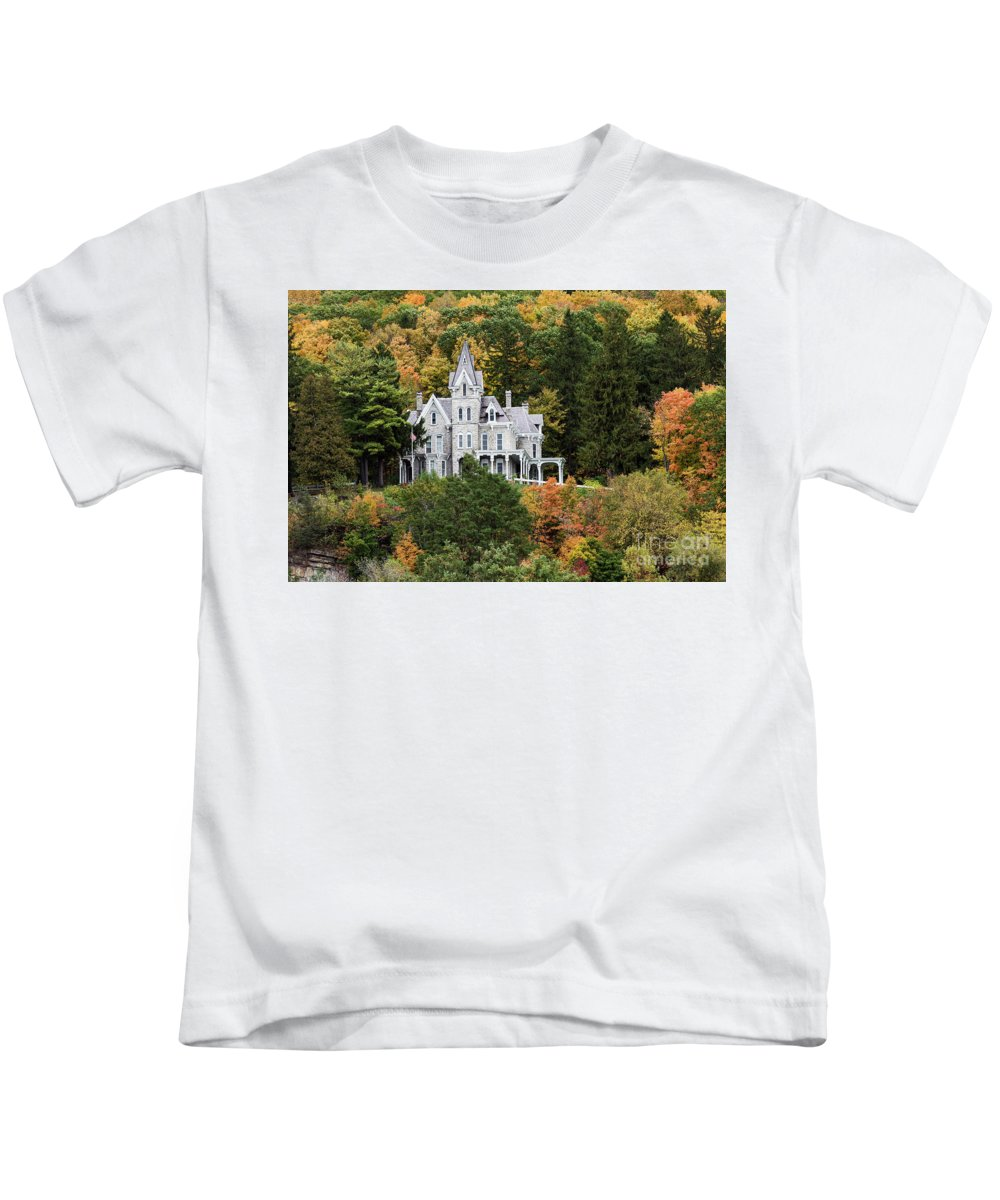 Gothic-style Kids T-Shirt featuring the photograph Skene Manor by John Greim