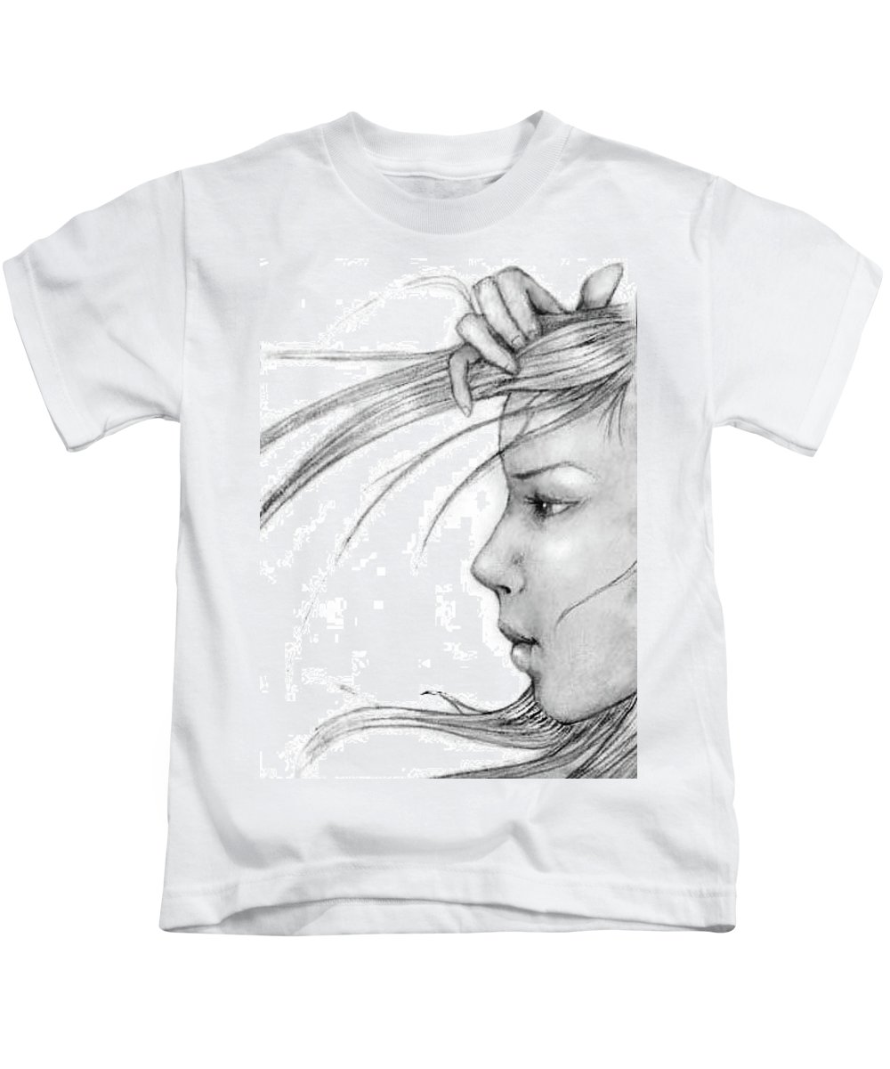 Kids T-Shirt featuring the drawing Sketch #1 by Carolyn Anderson