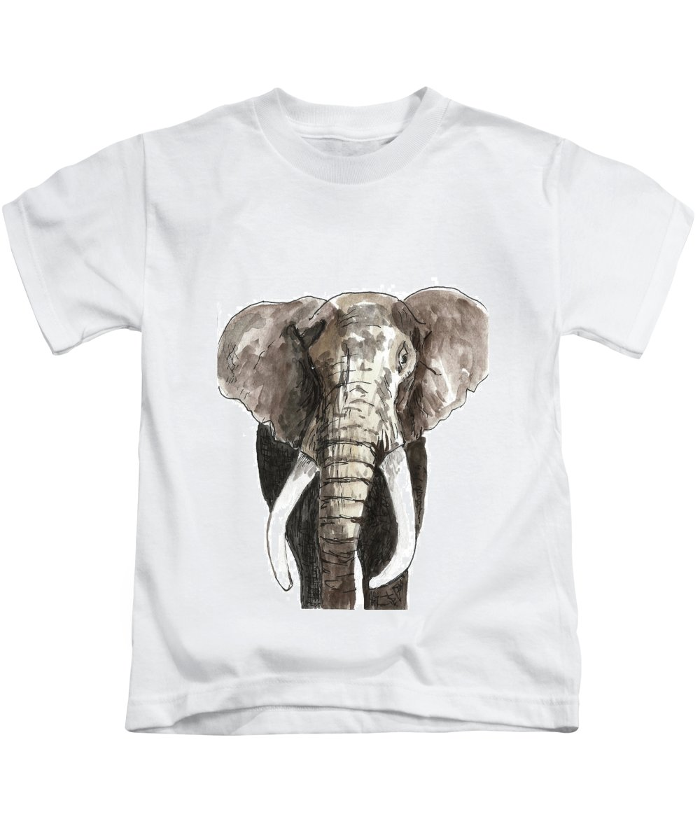 Elephant Kids T-Shirt featuring the painting Sketch Elephant by Masha Batkova
