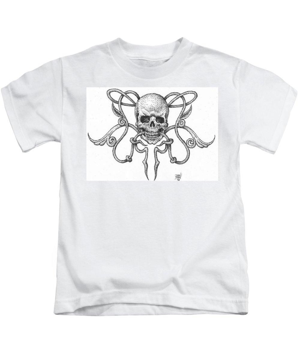 Skull Kids T-Shirt featuring the drawing Skull Design by Dan Moran
