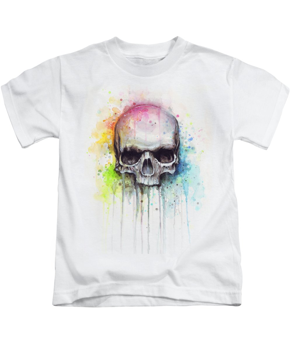 Skull Kids T-Shirt featuring the painting Skull Watercolor Painting by Olga Shvartsur