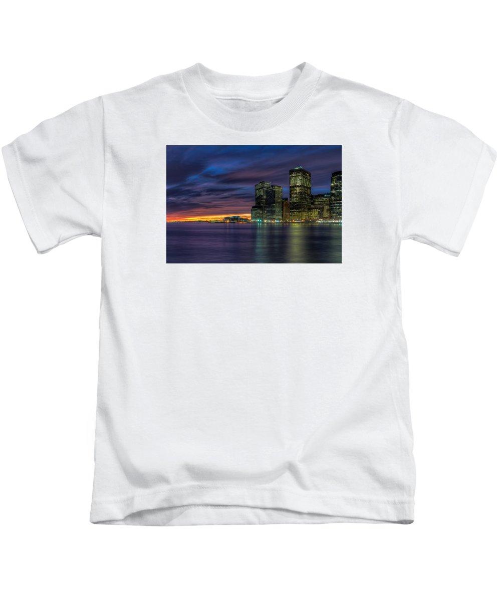 Skyline Kids T-Shirt featuring the photograph Skyline Sunset by Mike Deutsch