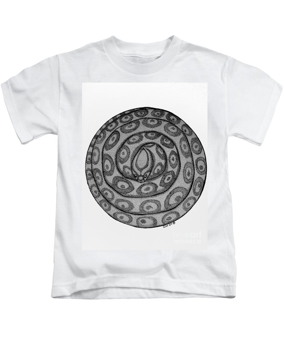 Animal Kids T-Shirt featuring the drawing Snake Ball by Nick Gustafson