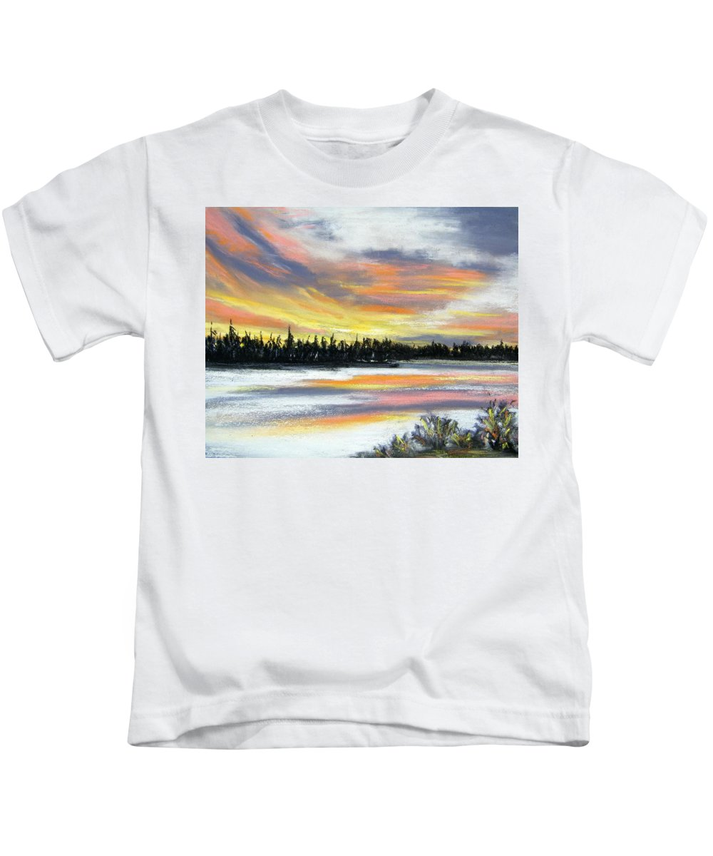 Sunset Kids T-Shirt featuring the pastel Snake River Sunset by Gale Cochran-Smith