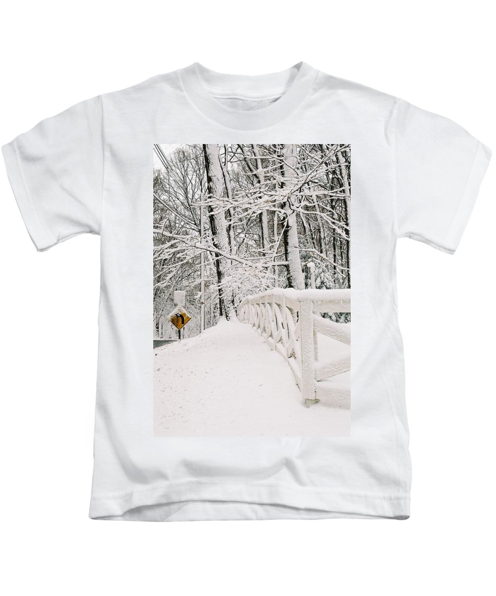 Fence Kids T-Shirt featuring the photograph Snow Curve by Lauri Novak