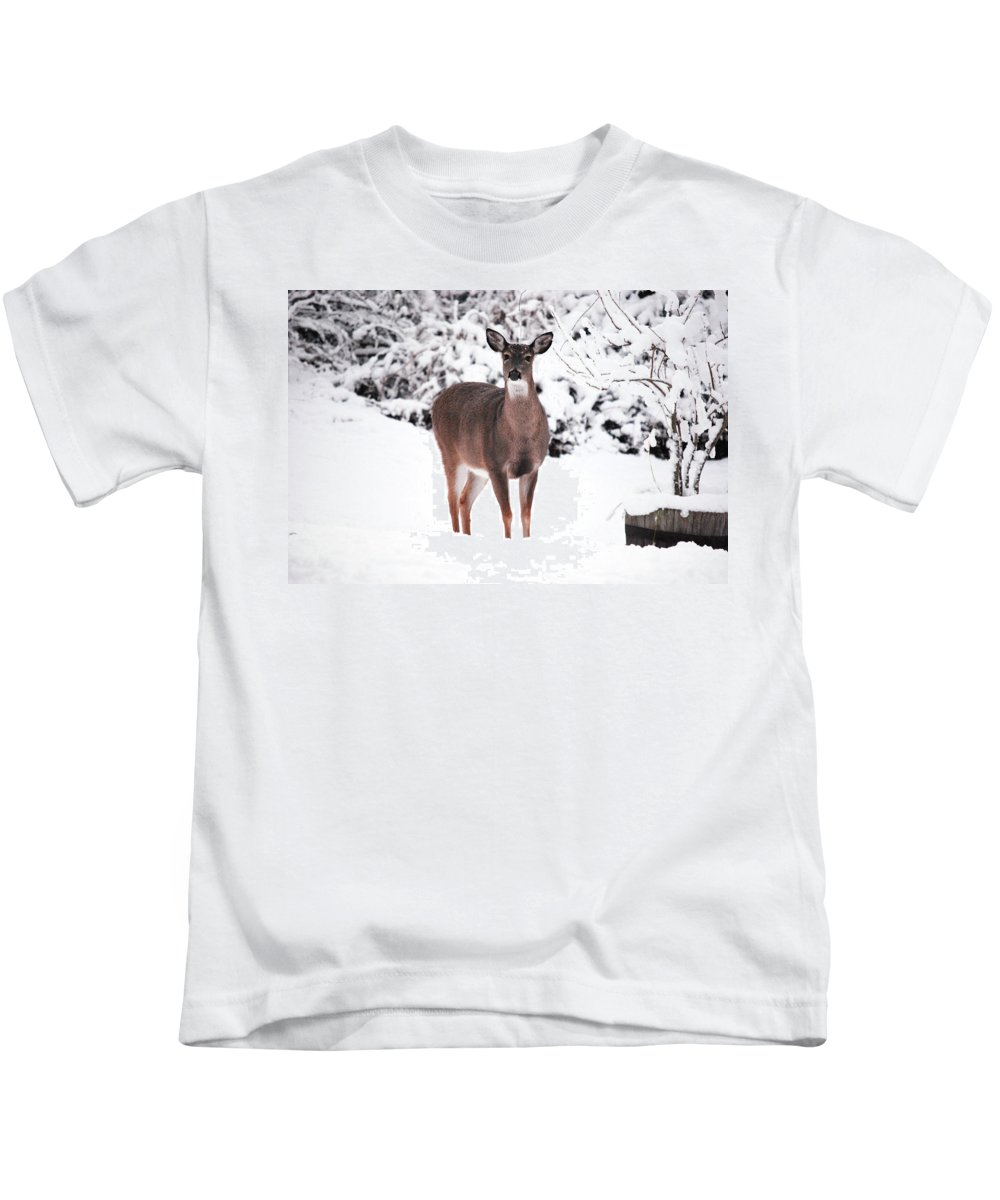 Deer Kids T-Shirt featuring the photograph Snow Day by Lori Tambakis