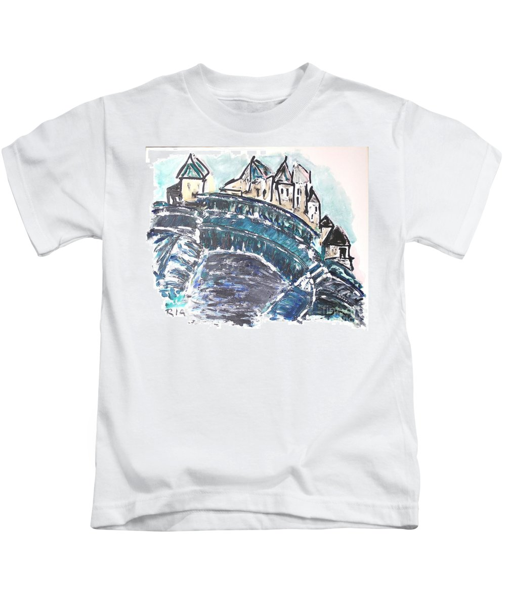 Houses Kids T-Shirt featuring the painting Snow by J Nell Bliss