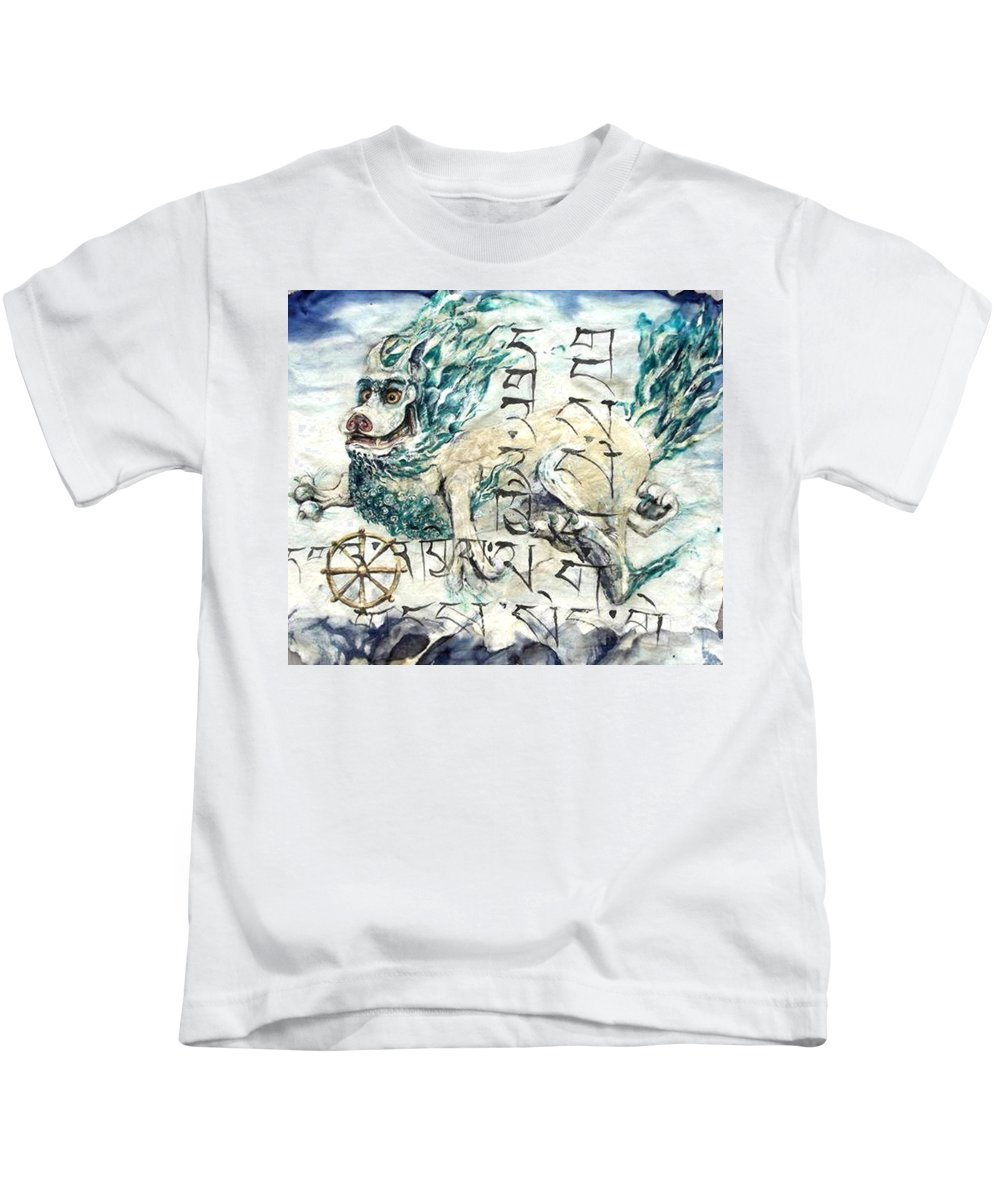 Snow Lion Kids T-Shirt featuring the painting Snow Lion by Silk Alchemy