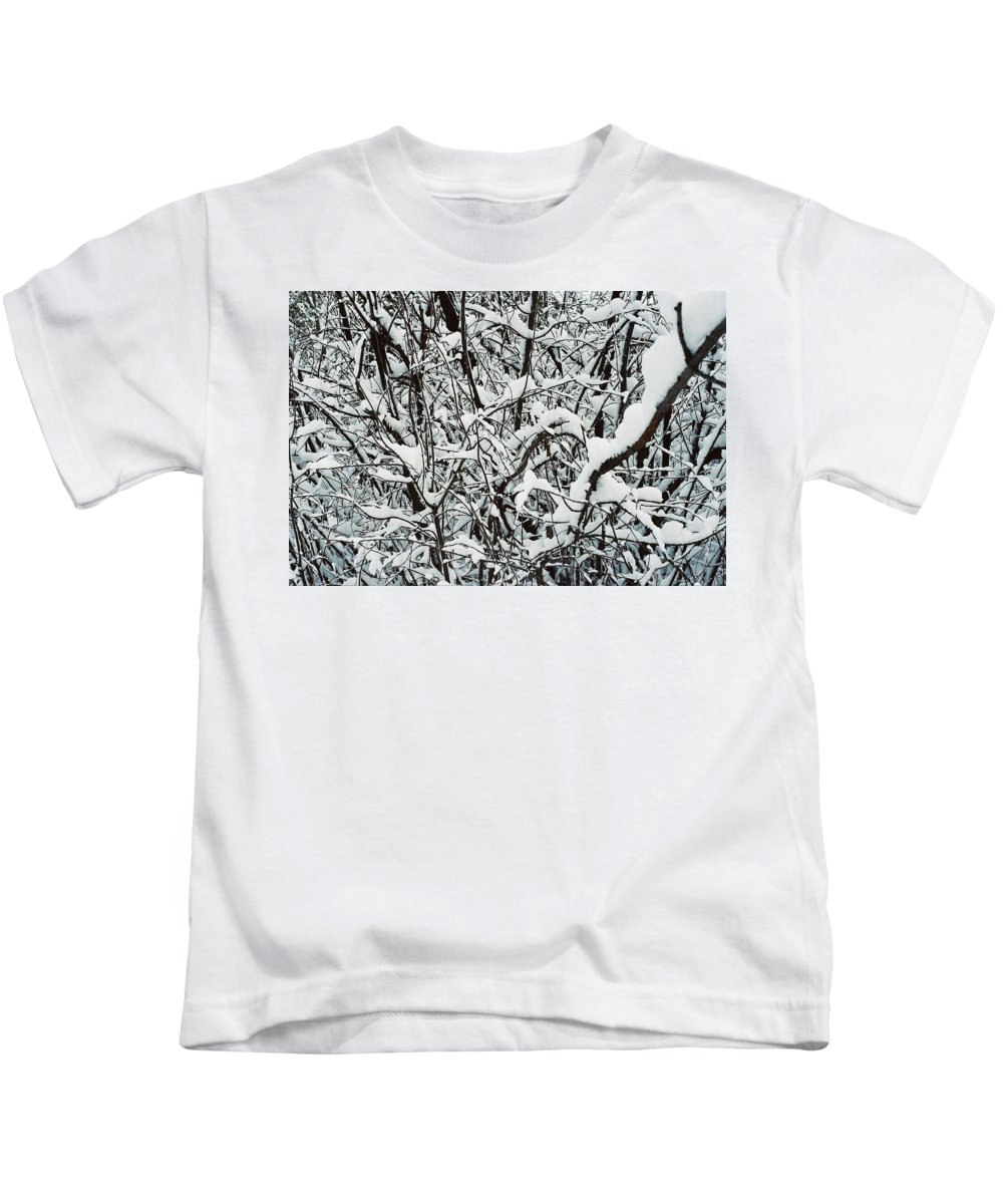 Abstract Kids T-Shirt featuring the photograph Snow On Branches by Ric Bascobert