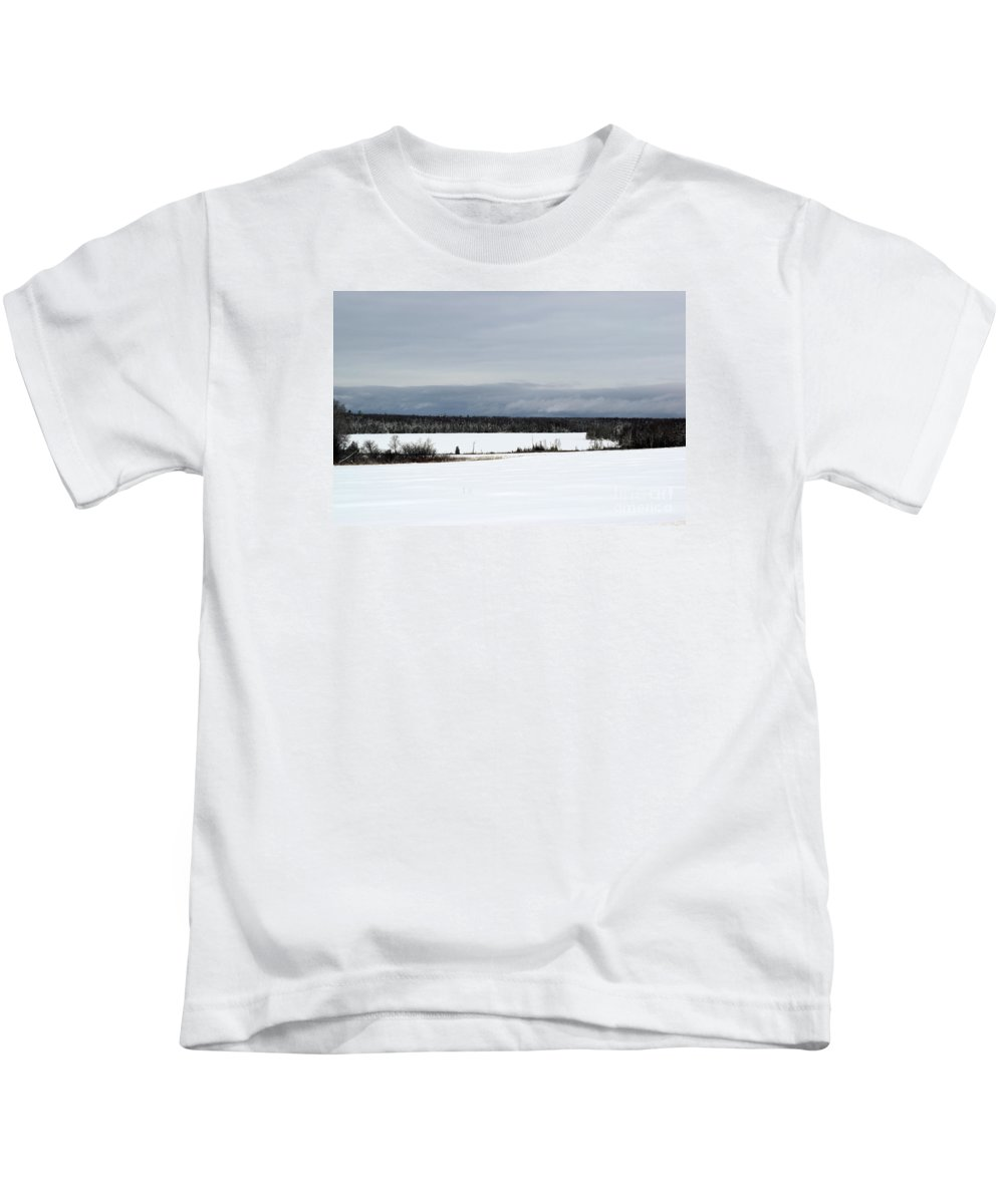 Landscape Kids T-Shirt featuring the photograph Snowy Lake by William Tasker