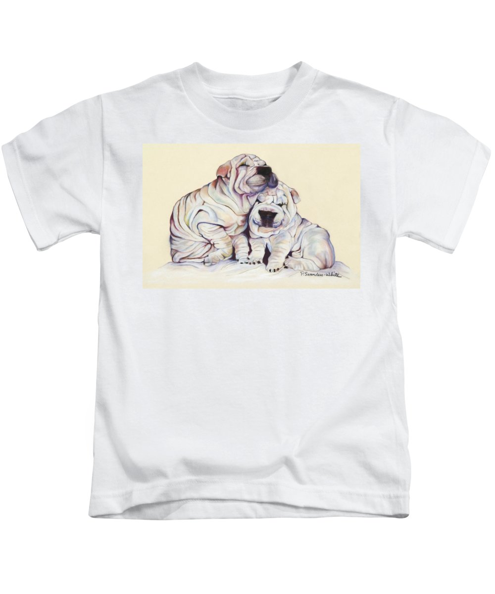 Dog Painting Kids T-Shirt featuring the pastel Snuggles by Pat Saunders-White