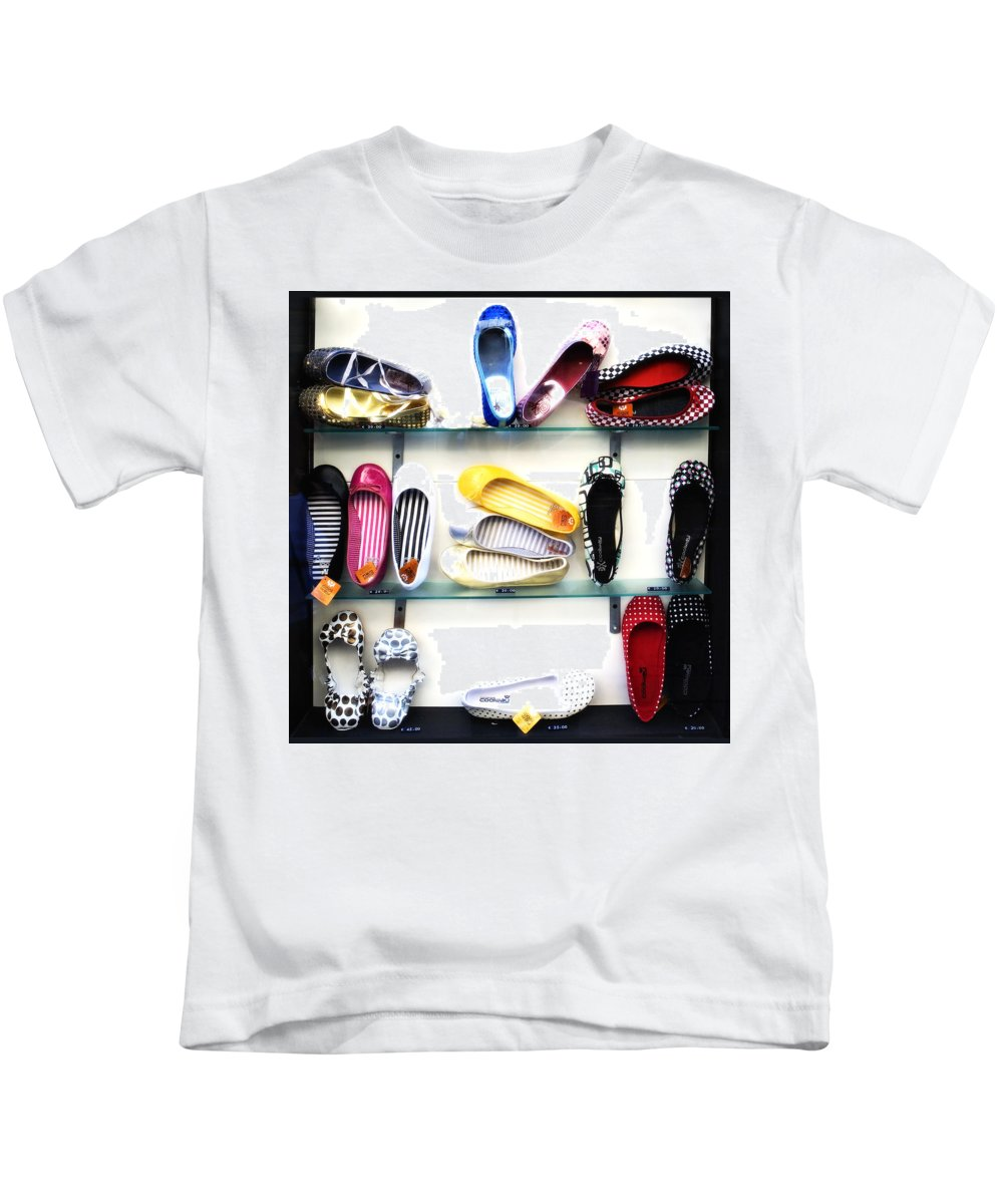 Shoes Kids T-Shirt featuring the photograph So Many Shoes... by Marilyn Hunt