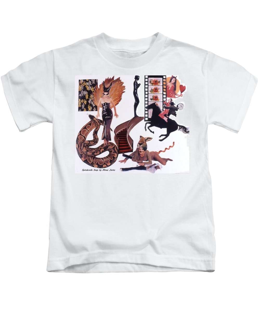 Boa Kids T-Shirt featuring the drawing Soap Scene #22 Lust in the Wind by Minaz Jantz
