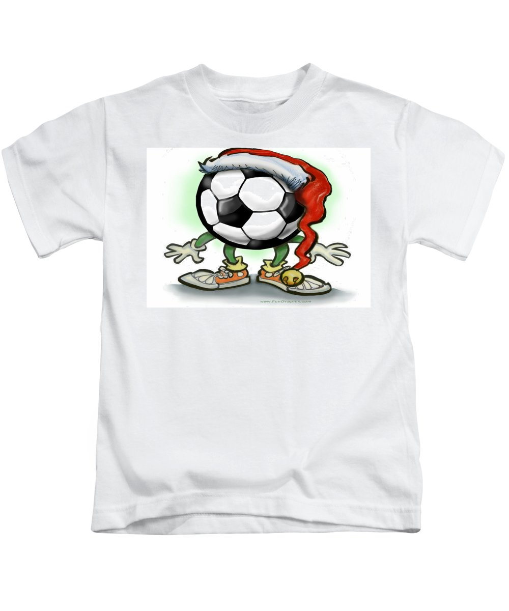 Soccer Kids T-Shirt featuring the greeting card Soccer Christmas by Kevin Middleton