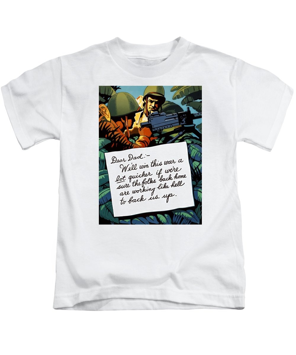 Squad Machine Gun Kids T-Shirt featuring the painting Soldier's Letter Home To Dad -- Ww2 Propaganda by War Is Hell Store
