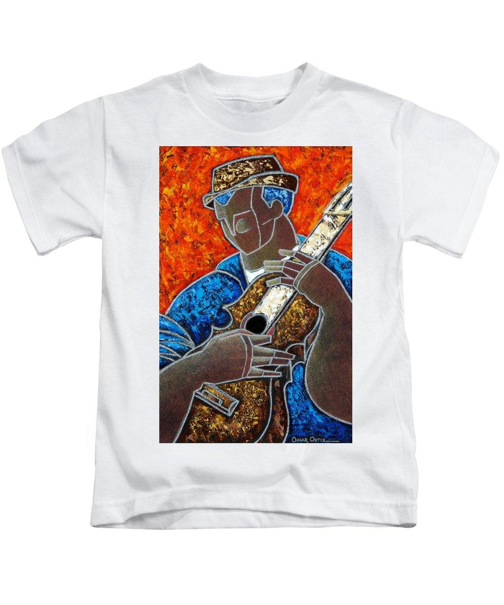 Puerto Rico Kids T-Shirt featuring the painting Solo De Cuatro by Oscar Ortiz