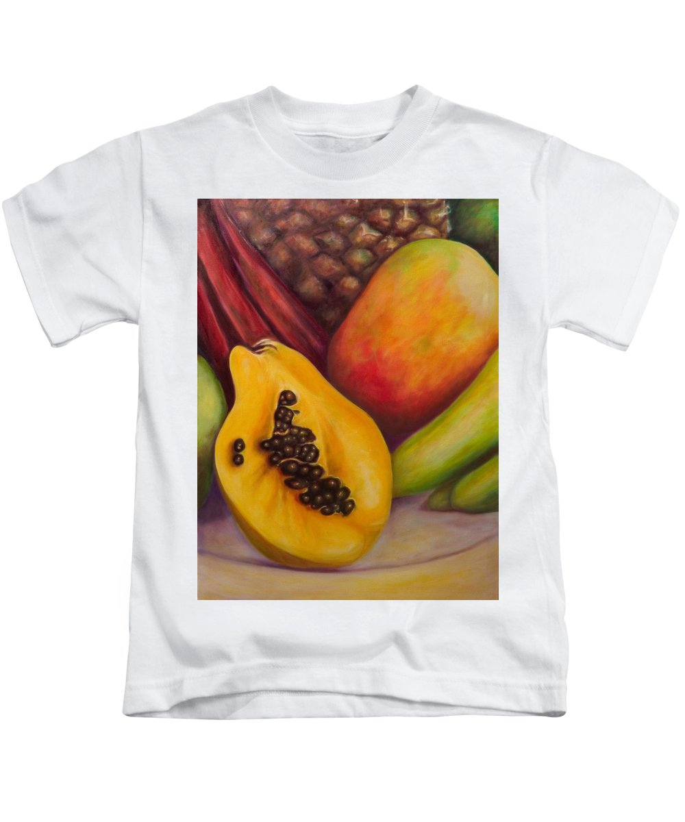 Tropical Fruit Still Life: Mangoes Kids T-Shirt featuring the painting Solo by Shannon Grissom