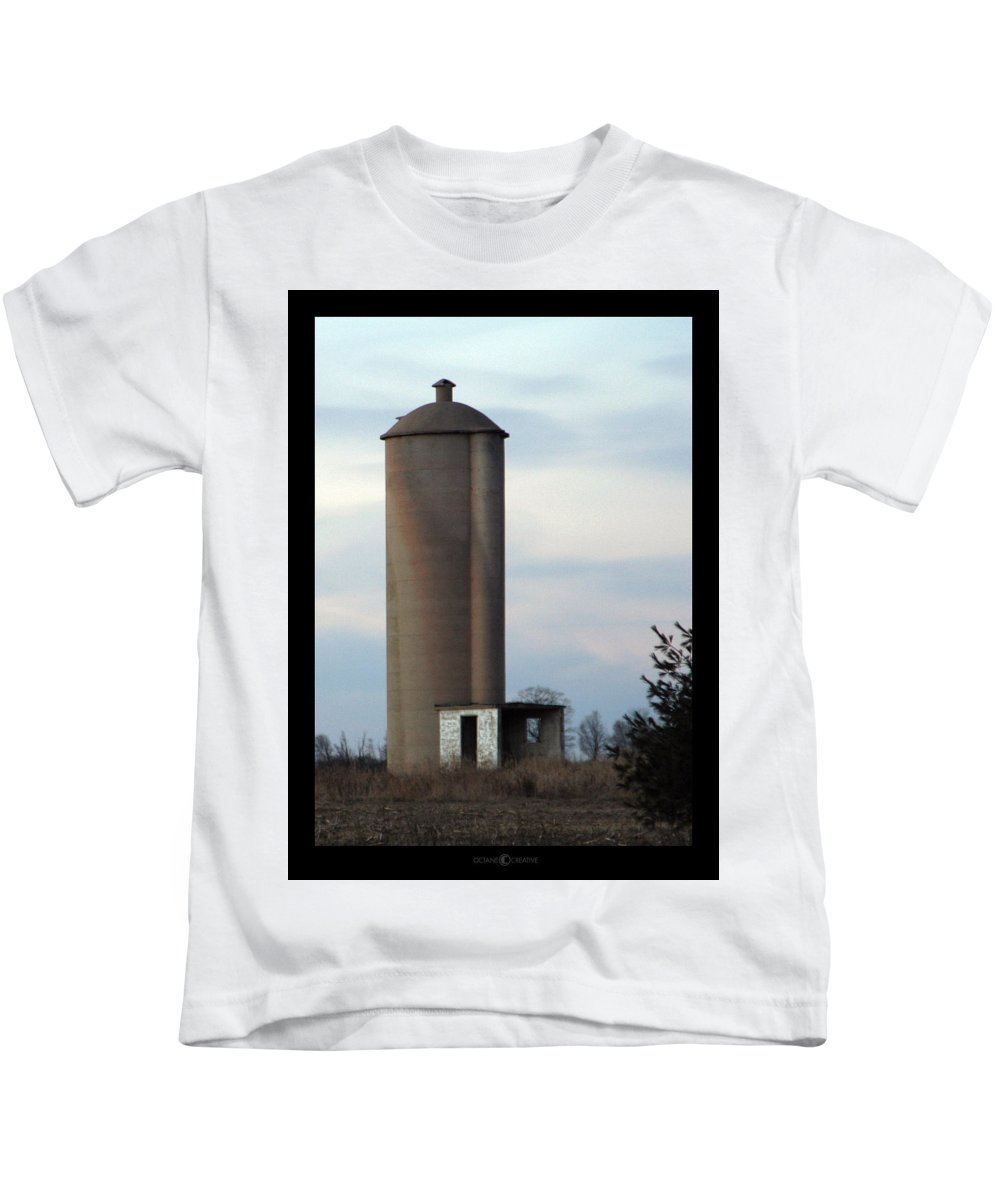 Silo Kids T-Shirt featuring the photograph Solo Silo by Tim Nyberg