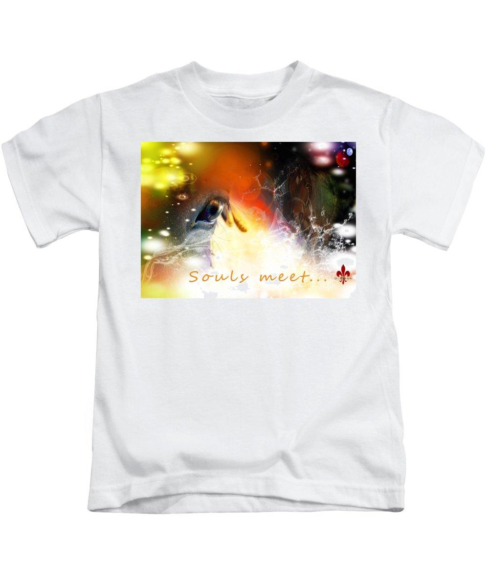 Horse Kids T-Shirt featuring the digital art Souls Meet by Barbara Hebert
