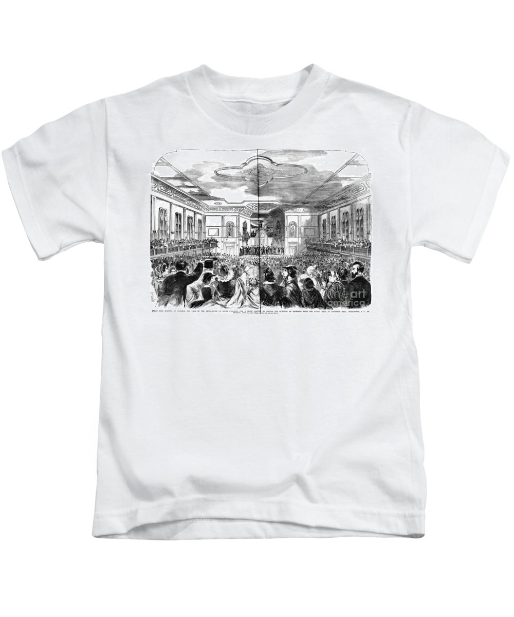 1860 Kids T-Shirt featuring the photograph South Carolina: Secession by Granger