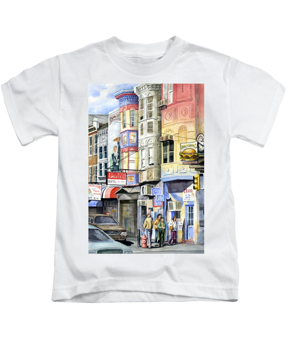 Street Kids T-Shirt featuring the painting South Street by Sam Sidders