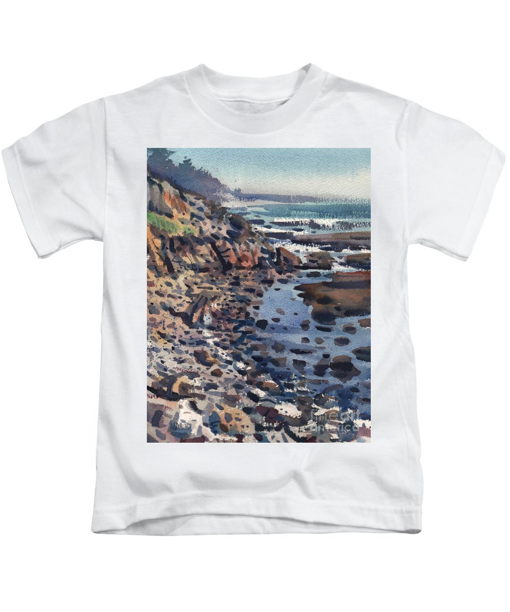 Pacific Kids T-Shirt featuring the painting South To Pigeon Point by Donald Maier
