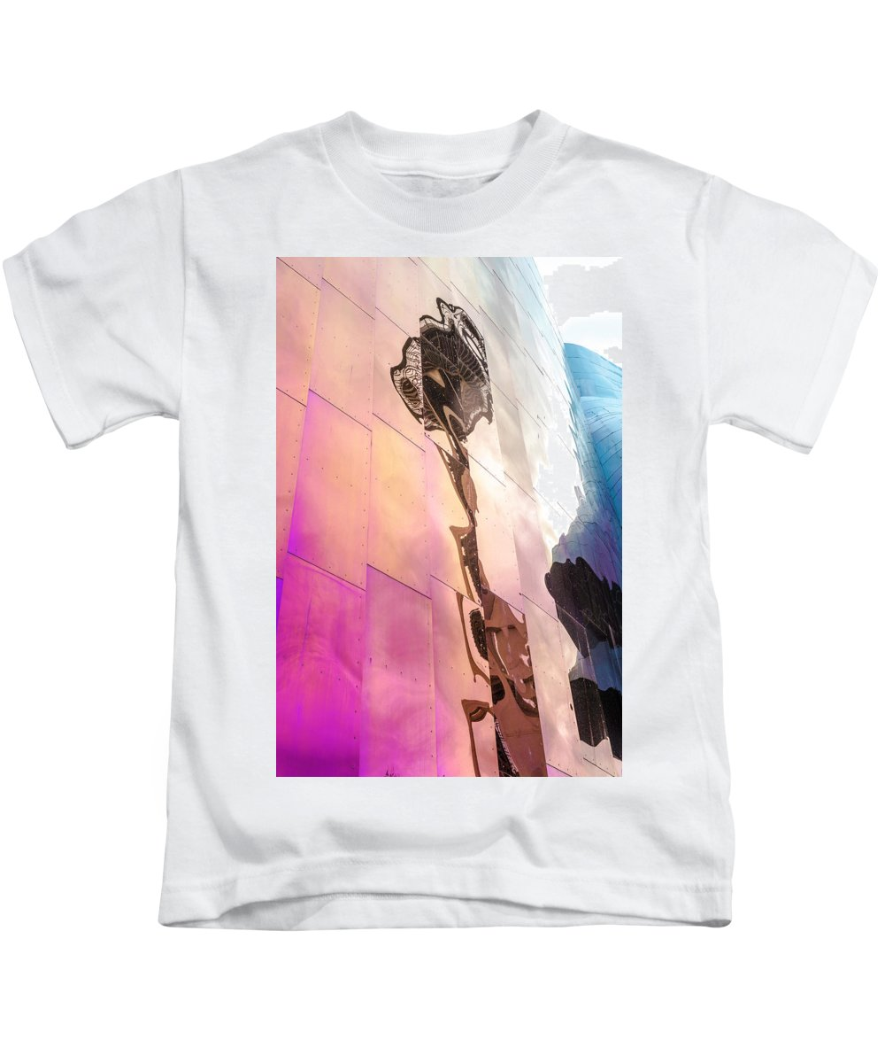 Space Needle Kids T-Shirt featuring the photograph Space Needle Reflection by Kevin Whitworth