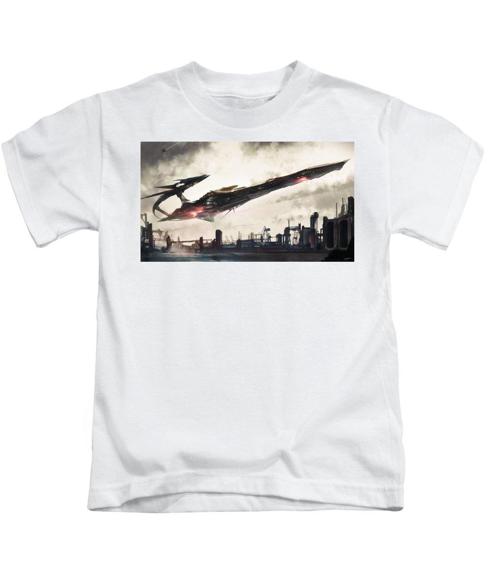 Spaceship Kids T-Shirt featuring the digital art Spaceship by Dorothy Binder