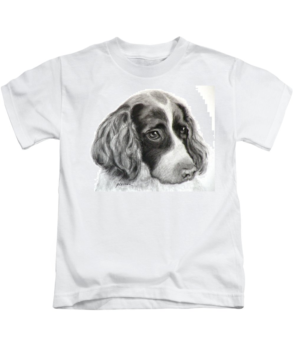 Dogs Kids T-Shirt featuring the painting Spaniel Drawing by Susan A Becker
