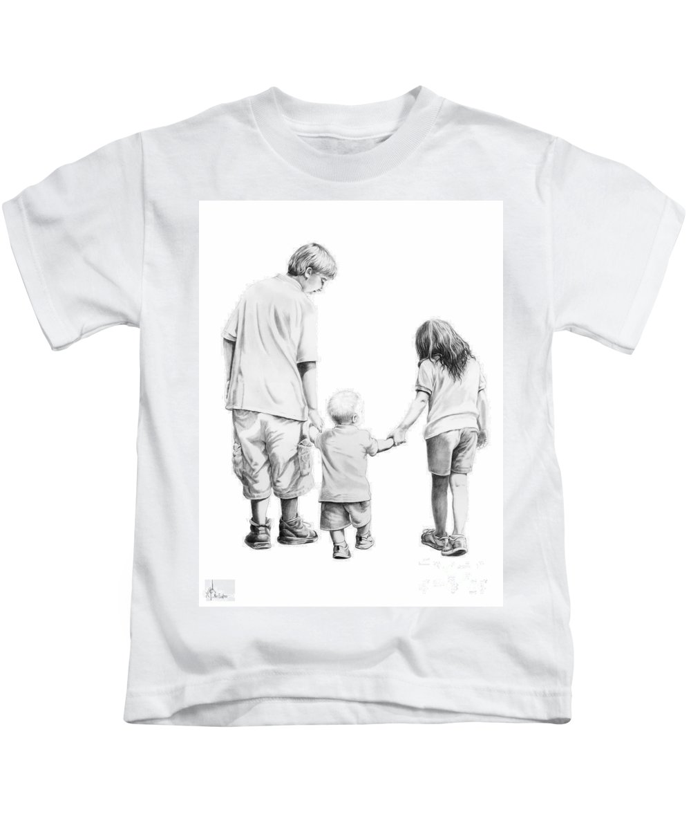 Figures Kids T-Shirt featuring the drawing Special Children by Murphy Elliott