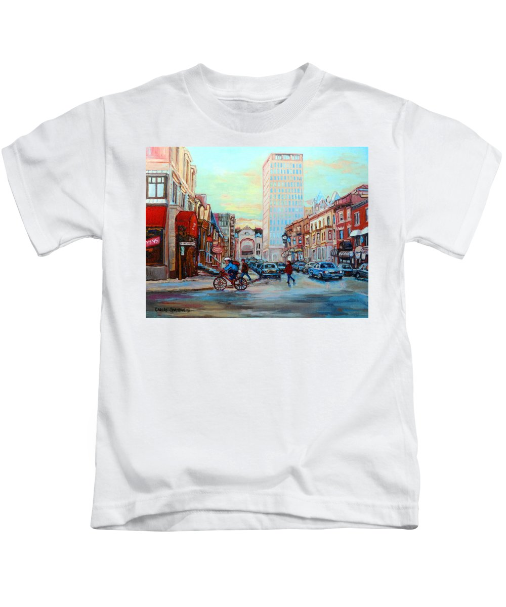 Montreal Kids T-Shirt featuring the painting Speed Cyclist On Crescent by Carole Spandau
