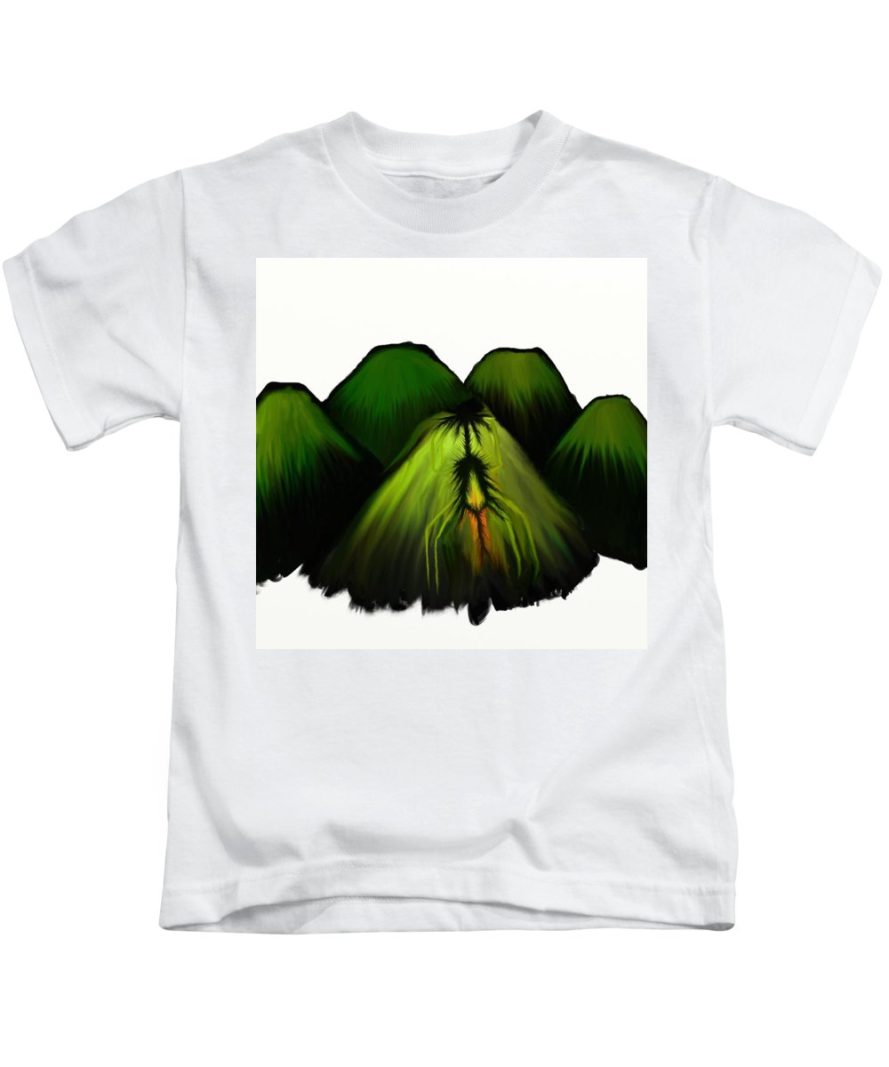 Kids T-Shirt featuring the painting Spider Volcano Progression 2 by Adam Norman