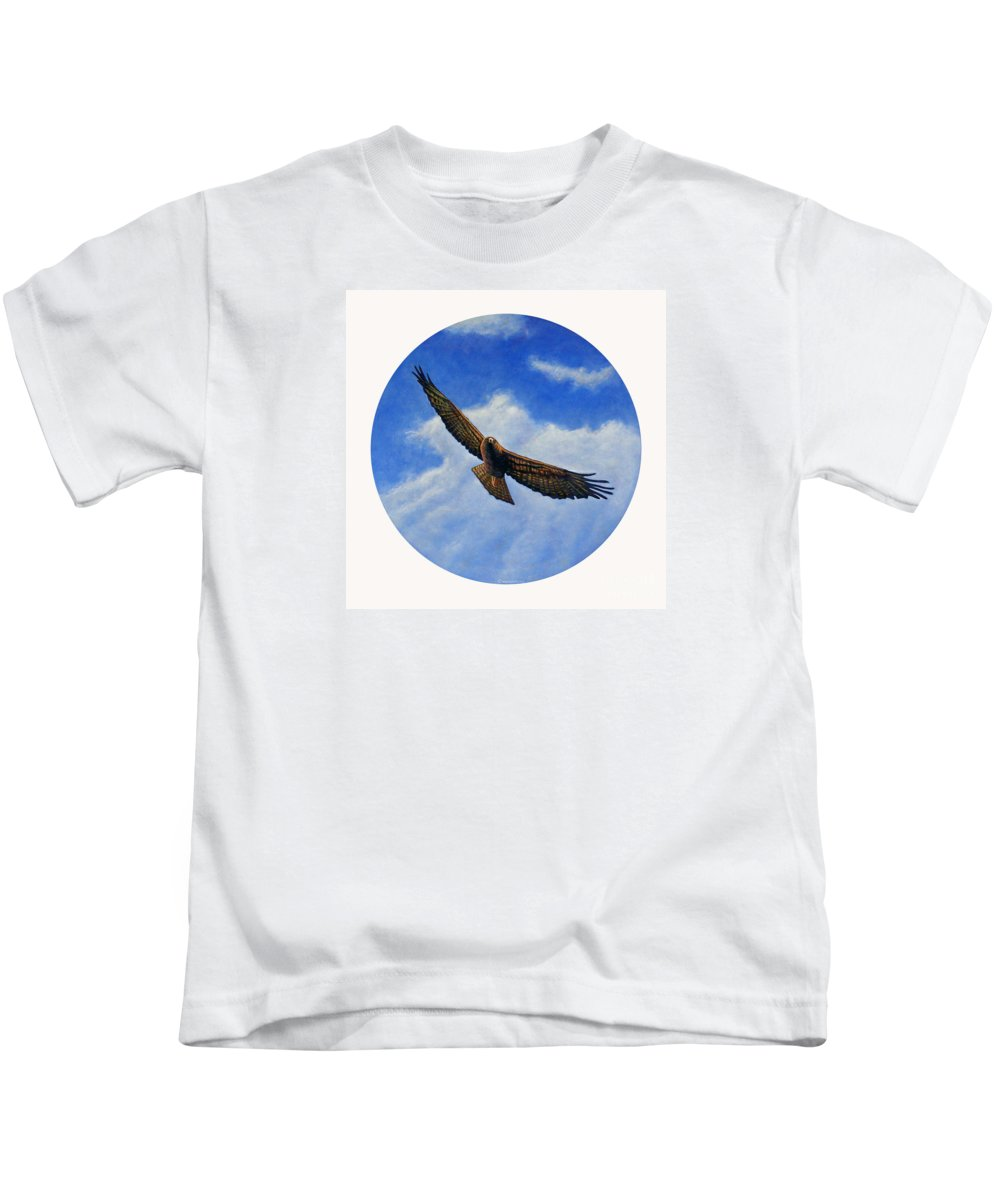 Hawk Kids T-Shirt featuring the painting Spirit In The Wind by Brian Commerford