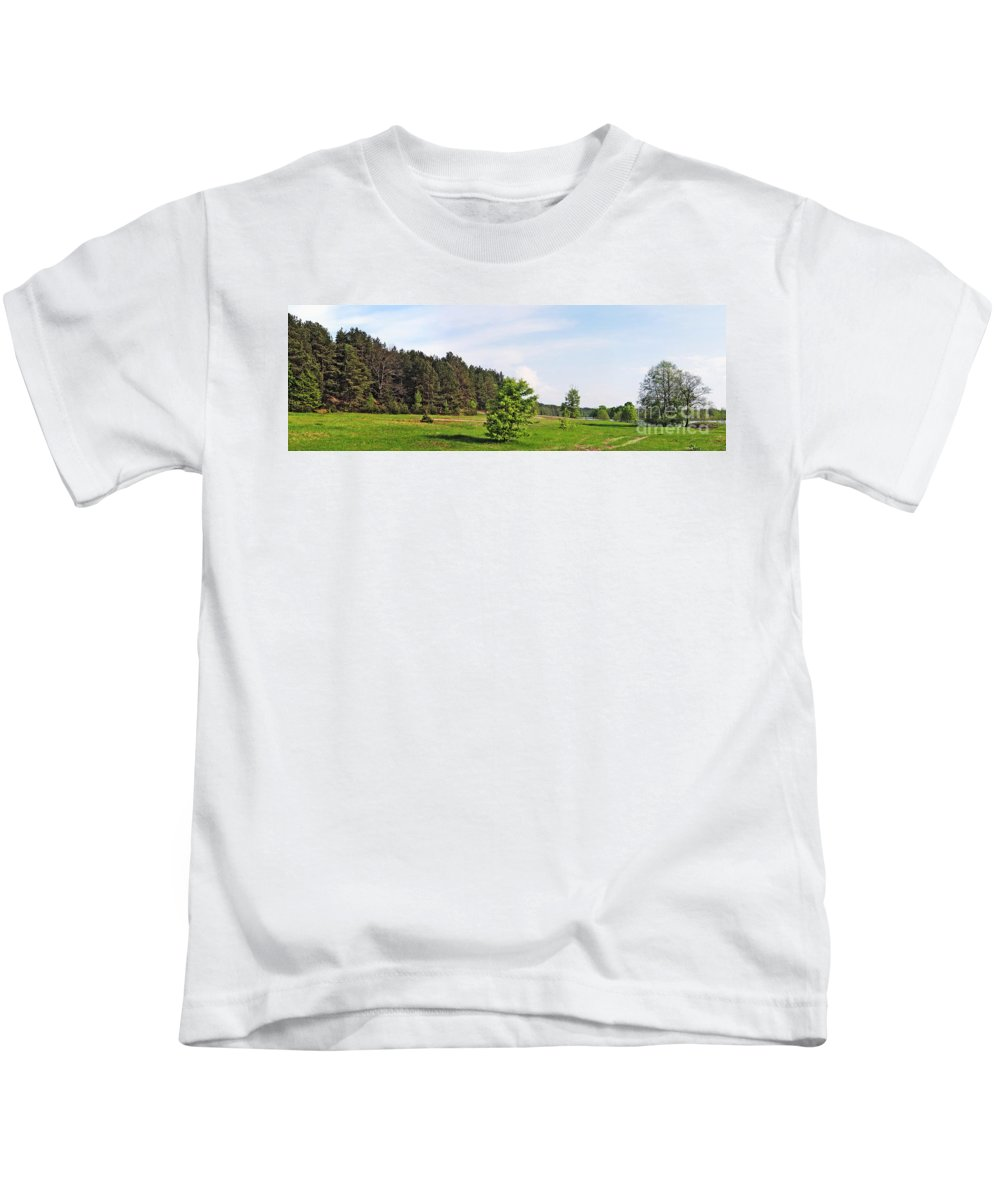 Landscape Kids T-Shirt featuring the photograph Spring Meadow by Vadzim Kandratsenkau