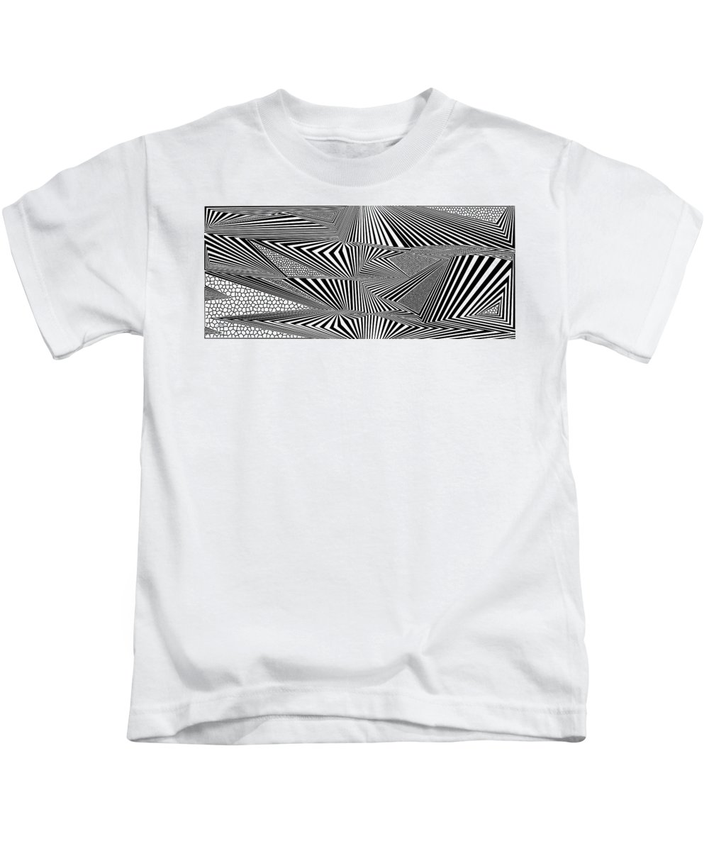 Dynamic Black And White Kids T-Shirt featuring the digital art Ssergorp by Douglas Christian Larsen