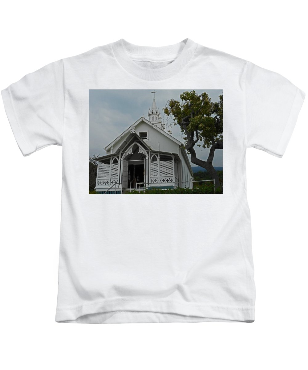 Kailua-kona Kids T-Shirt featuring the photograph St Benedicts Painted Church 12 by Ron Kandt