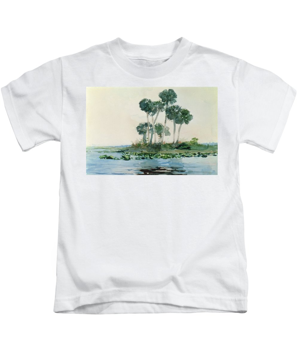 St Johns River Kids T-Shirt featuring the painting St John's River Florida by Winslow Homer