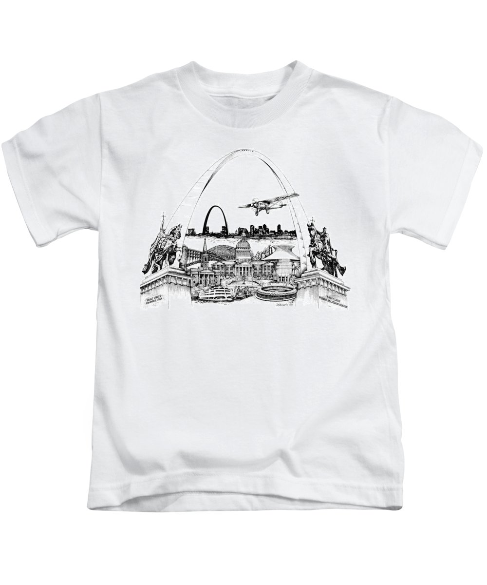City Drawing Kids T-Shirt featuring the drawing St. Louis Highlights Version 1 by Dennis Bivens