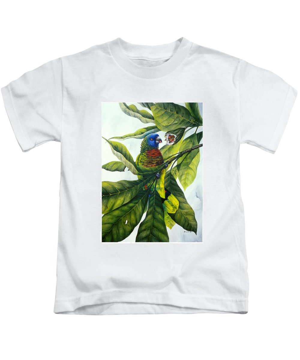 Chris Cox Kids T-Shirt featuring the painting St. Lucia Parrot And Fruit by Christopher Cox