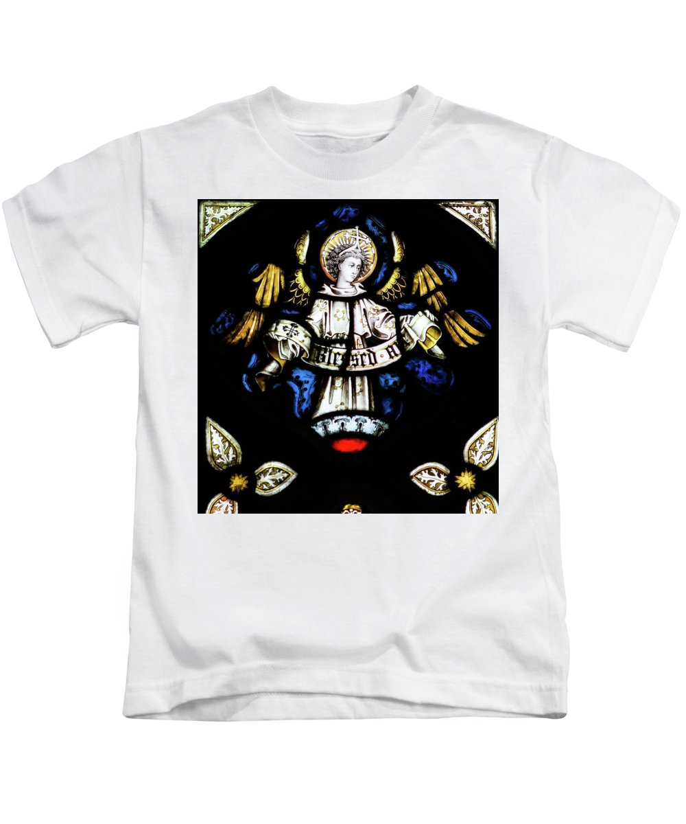 Architecture Kids T-Shirt featuring the photograph St Mary Redcliffe Stained Glass Close Up H by Jacek Wojnarowski