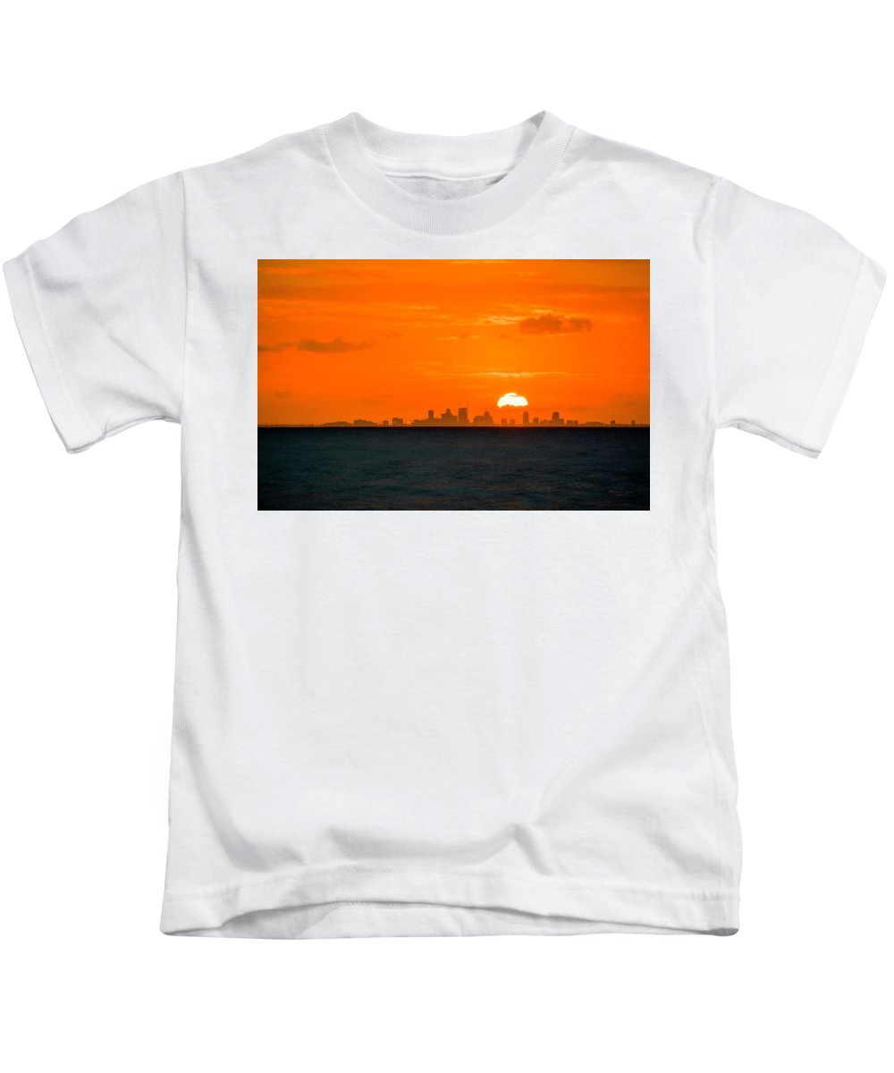 Sunset Kids T-Shirt featuring the photograph St. Pete Fireball by Marvin Spates