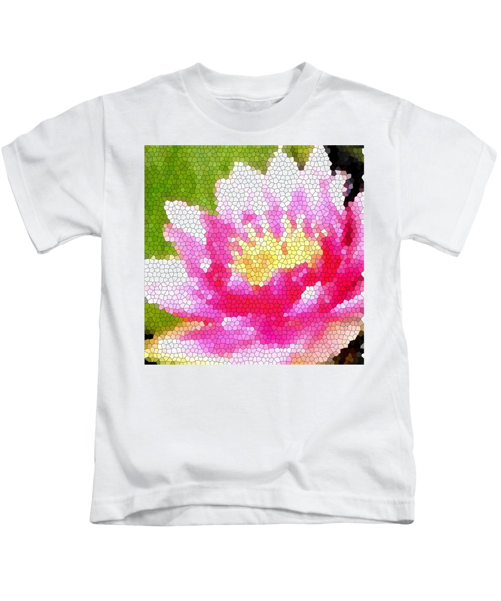 Abstract Art Kids T-Shirt featuring the digital art Stained Glass Waterlily by Barbara Griffin
