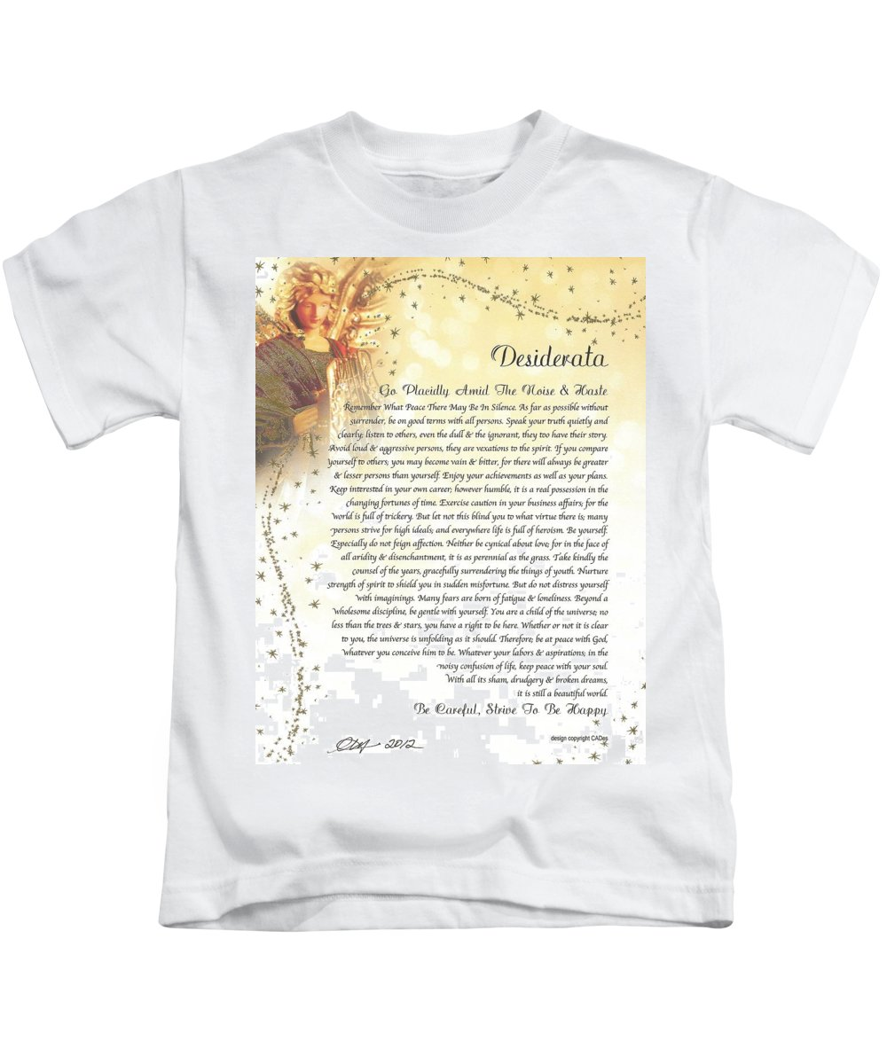 Desiderata Poem Max Ehrmann Starry Guardian Angel Motivational Inspirational Kids T-Shirt featuring the mixed media Starry Guardian Angel Desiderata by Desiderata Gallery