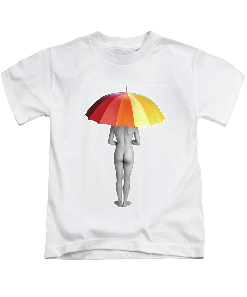 Umbrella Kids T-Shirt featuring the photograph Cool And Dry by Herman Robert