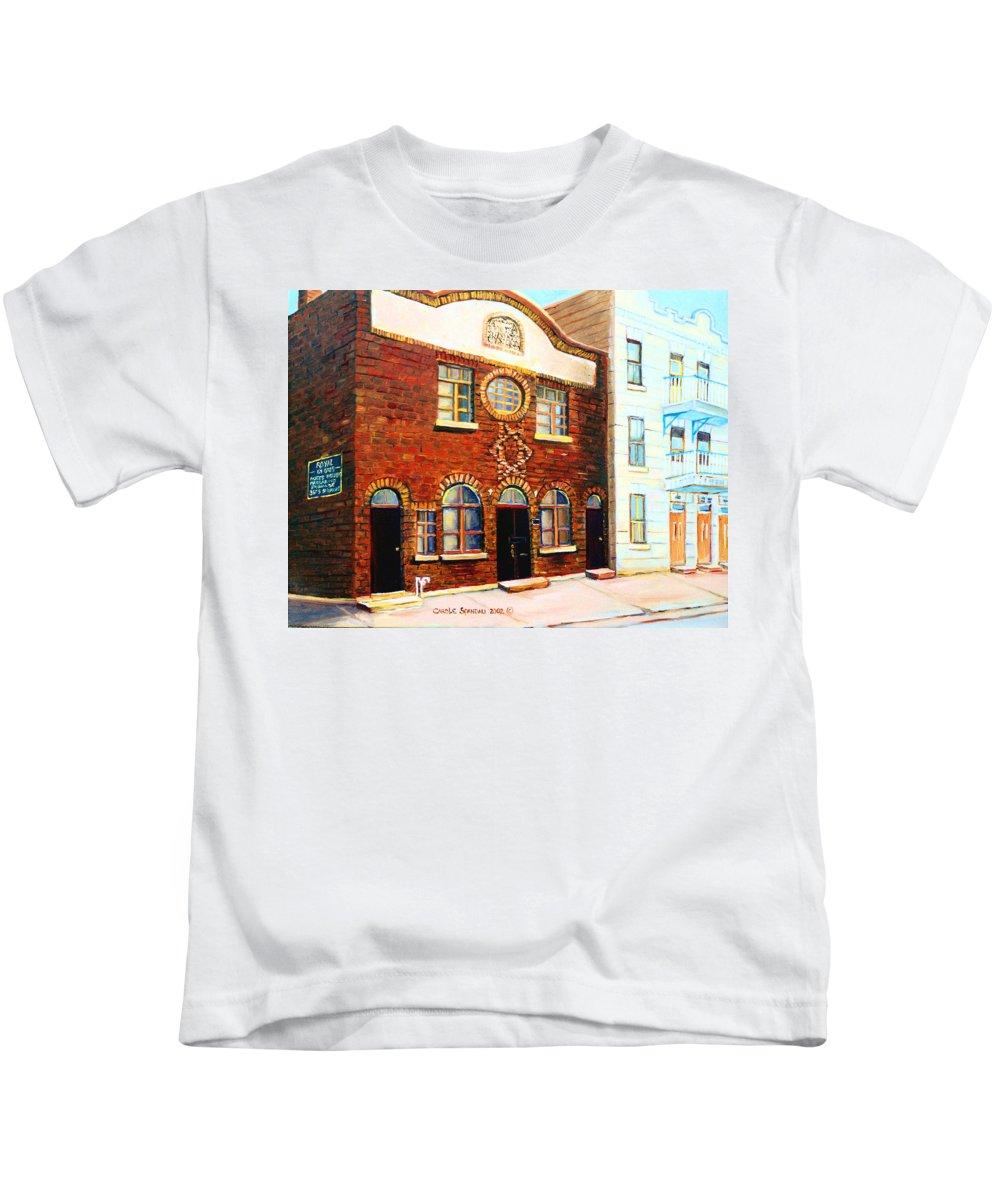 St. Dominique Street Synagogue Kids T-Shirt featuring the painting St.dominique Street Synagogue by Carole Spandau